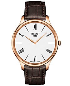 Tissot Men's Swiss T-Classic Tradition 5.5 Brown Leather Strap Watch 39mm