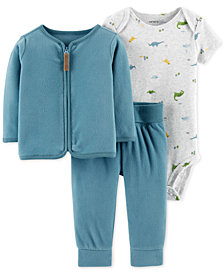 Carter's Baby Boys 3-Pc. Printed Bodysuit, Fleece Cardigan & Pants Set