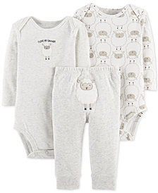 Carter's Baby Boys or Girls 3-Pc. Sheep-Print Cotton Bodysuits & Pants Set
