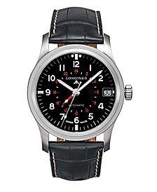 LIMITED EDITION Men's Limited Edition Swiss Automatic Heritage Avigation Black Alligator Leather Strap Watch 44mm, Created for Macy's