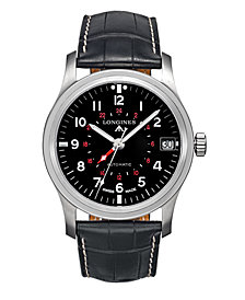 Longines Men's Limited Edition Swiss Automatic Heritage Avigation Black Alligator Leather Strap Watch 44mm, Created for Macy's