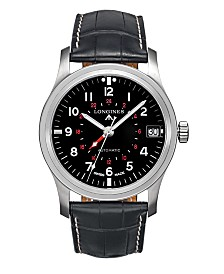 LIMITED EDITION Longines Men's Limited Edition Swiss Automatic Heritage Avigation Black Alligator Leather Strap Watch 44mm, Created for Macy's