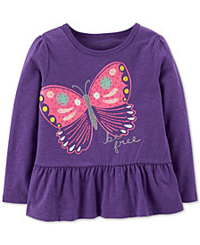 Carter's Baby Girls Butterfly-Print Peplum T-Shirt