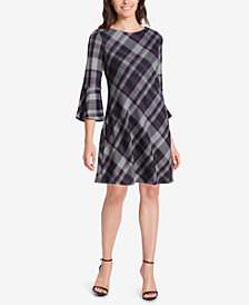 Jessica Howard Petite Plaid Bell-Sleeve Dress