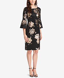 Jessica Howard Petite Bell-Sleeve Metallic Floral Dress