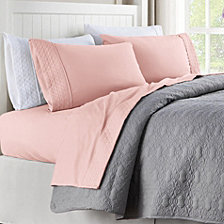 Quilted Hem Full Microfiber Sheet Set