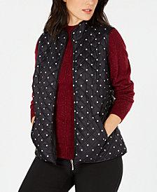Karen Scott Polka Dot Puffer Vest, Created for Macy's