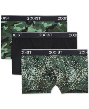 2(X)IST (X)Ist Cotton Stretch No-Show Trunks, Pack Of 3 in Camo Dot