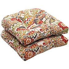 "Zoe Floral 19"" x 19"" Outdoor Chair Pad Seat Cushions Set of 2"