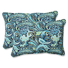 Pretty Paisley Navy Over-sized Rectangular Throw Pillow, Set of 2