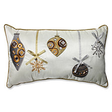 Holiday Ornaments Gold/Silver Rectangular Throw Pillow