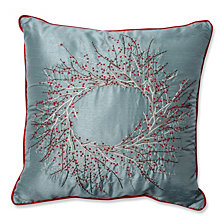 "Christmas Wreath 18"" Throw Pillow"