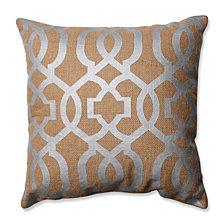"Silver Geometric Tan Burlap 16.5"" Throw Pillow"
