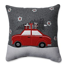 "Gift Car Grey-Red 16"" Throw Pillow"