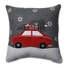 "Gift Car Grey-Red 16"" Throw Pillow"