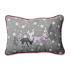 White Christmas Grey Rectangular Throw Pillow