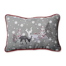 White Christmas Grey Rectangular Throw Pillow
