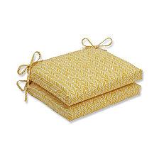 Herringbone Egg Yolk Squared Corners Seat Cushion, Set of 2