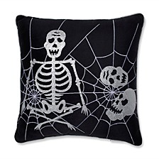 "Skeleton in Web Black 17"" Throw Pillow"