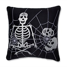 "Skeleton in Web Black 17"" Throw Pillow"