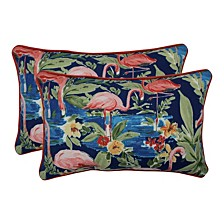 Flamingoing Lagoon Rectangular Throw Pillow, Set of 2
