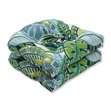 Aruba Jungle Green Wicker Seat Cushion, Set of 2