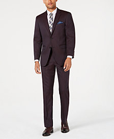 Perry Ellis Men's Slim-Fit Stretch Burgundy Solid Suit