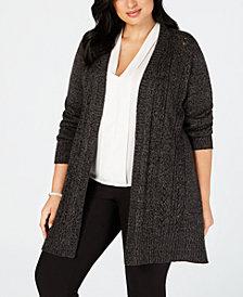 Karen Scott Plus Size Pointelle Open-Front Cardigan, Created for Macy's