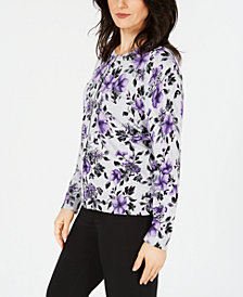 Karen Scott Flower-Print Jersey Cardigan Sweater, Created for Macy's