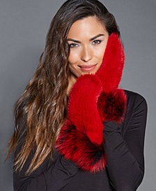 The Fur Vault Fox-Trim Mink Mittens