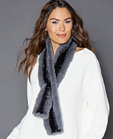 Pull-Through Rabbit Fur Scarf