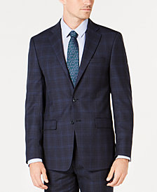 Calvin Klein Men's X-Fit Slim-Fit Stretch Navy Plaid Wool Suit Jacket