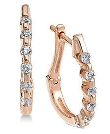 Diamond Hoop Earrings (1/4 ct. t.w.) in 14k Rose Gold (Also Available in 14k White Gold)