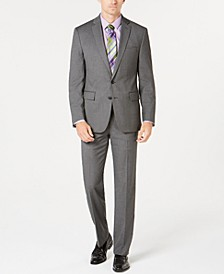 Men's Ultimate Moves Modern-Fit Stretch Black/White Birdseye Suit Separates, Created for Macy's