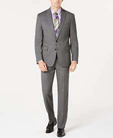 Ryan Seacrest Distinction™ Men's Ultimate Moves Modern-Fit Stretch Black/White Birdseye Suit Separates, Created for Macy's