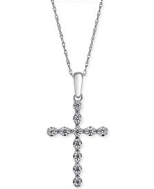 "Diamond Cross 18"" Pendant Necklace (1/4 ct. t.w.) in 14k White Gold"