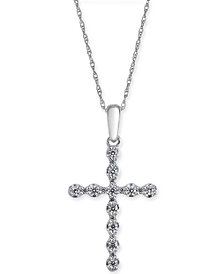 "Diamond Cross 18"" Pendant Necklace (1/4 ct. t.w.) in 14k White Gold"