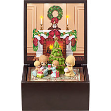 Precious Moments Heirloom Family Christmas Deluxe Lighted Music Box
