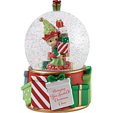 Precious Moments 3rd Annual Elf Series Christmas Cheer Musical Snow Globe