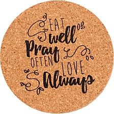 Bountiful Blessings Eat Pray Love Coasters, 4-Piece Set