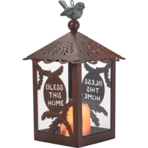 Bless This Home Garden Decorative Lantern With Flameless Candle