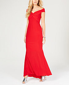 XSCAPE Twisted Off-The-Shoulder Gown
