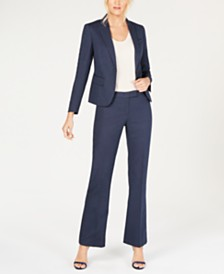 Anne Klein Denim One-Button Pantsuit