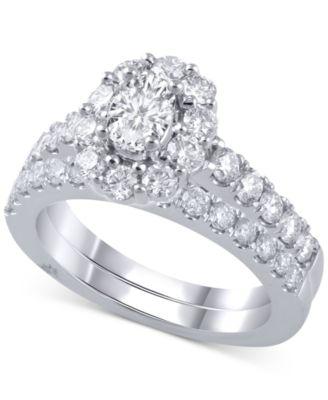 Diamond Oval Halo Bridal Set (2 ct. t.w.) in 18k White Gold