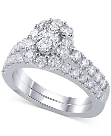 Diamond Halo Bridal Set (2 ct. t.w.) in 18k White Gold