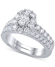 Marchesa Diamond Halo Bridal Set (2 ct. t.w.) in 18k White Gold