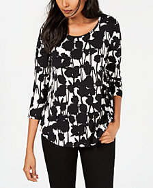 JM Collection Petite Leopard-Print 3/4-Sleeve Top, Created for Macy's