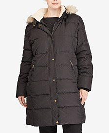 Plus Size Faux-Fur-Lined Hooded Down Coat, Created for Macy's