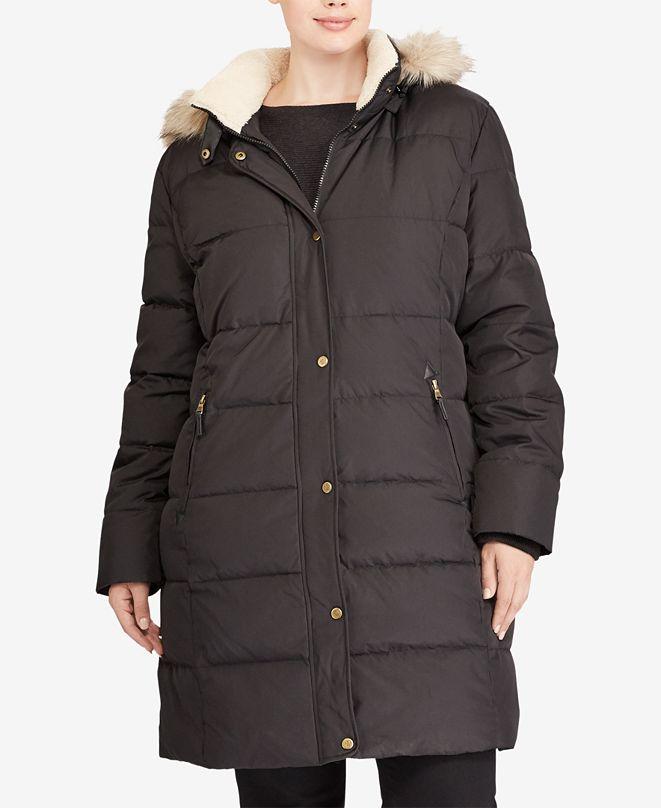 Lauren Ralph Lauren Plus Size Faux-Fur Hooded Puffer Coat ...