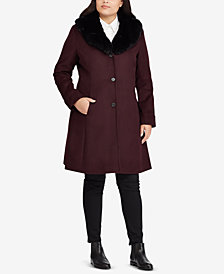Lauren Ralph Lauren Plus Size Faux-Fur-Collar Coat